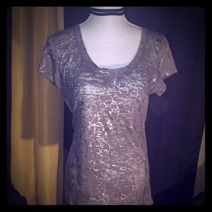 Gray and Silver Crackle Burnout Tee
